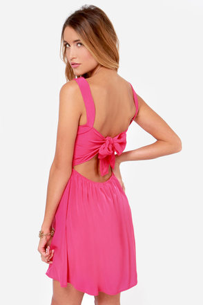 Tie by Night Backless Fuchsia Dress