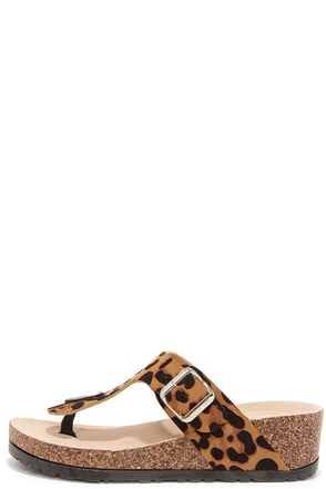 Wildly Amused Leopard Print Wedge Sandals at Lulus.com!