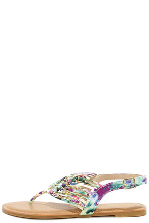 Chains Encounter Multi Print Thong Sandals at Lulus.com!