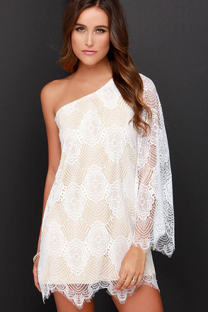 Lash Request One Shoulder Beige and Ivory Lace Dress at Lulus.com!