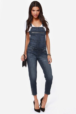 Blank NYC Crossover-All Distressed Denim Overalls
