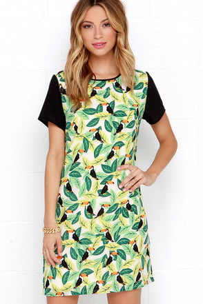 Sugarhill Boutique Toucan Play That Game Green Print Shift Dress at Lulus.com!