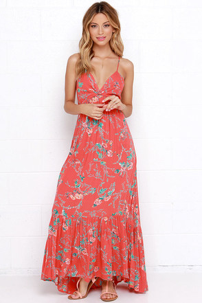 Billabong Dream Escape Coral Red Floral Print Maxi Dress at Lulus.com!