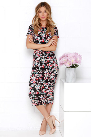 Sugarhill Boutique Felicity Black Floral Print Midi Dress at Lulus.com!