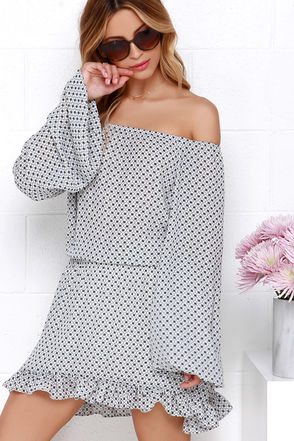Spanish Apartment Black and Ivory Off-the-Shoulder Print Dress at Lulus.com!