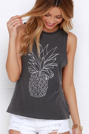 Amuse Society Pineapple Grey Muscle Tee at Lulus.com!