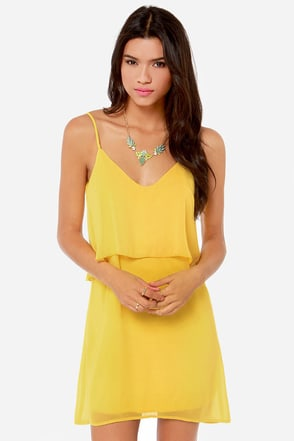 Tier, There, and Everywhere Yellow Dress