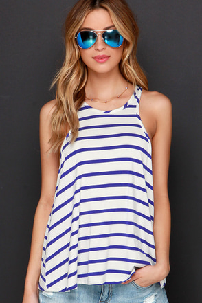 Royal Blue And Ivory Top Racerback Tank Top Striped