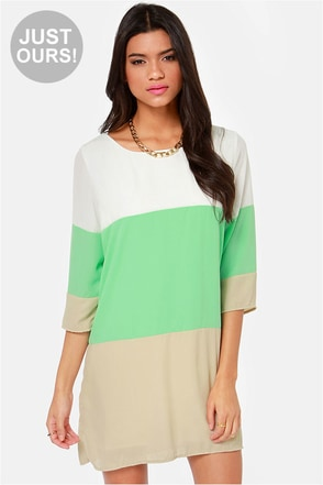 LULUS Exclusive Citrus Grove Mint and Peach Shift Dress