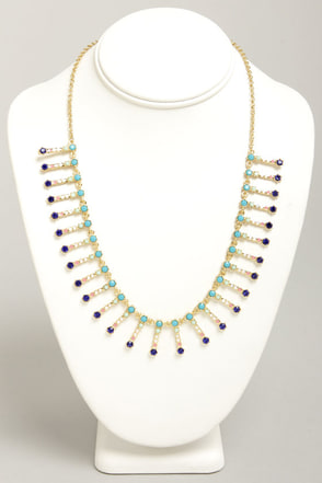 Jewel To Do Blue Rhinestone Necklace
