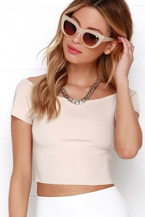 Chic of the Crop Beige Off-the-Shoulder Crop Top at Lulus.com!