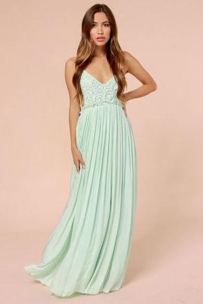 Pretty Mint Dress Crochet Dress Maxi Dress Lace Dress 5400