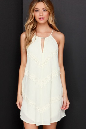 Meadow the Way Cream Lace Dress at Lulus.com!