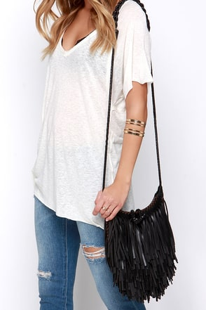 Braid School Black Fringe Purse at Lulus.com!