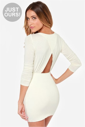 LULUS Exclusive Uptown Bound Cutout Cream Dress