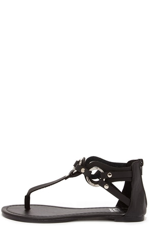 'Round Town Black and Silver Thong Sandals at Lulus.com!
