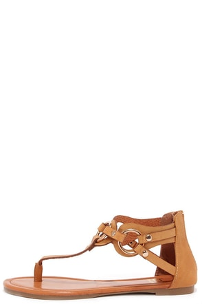 'Round Town Camel and Gold Thong Sandals at Lulus.com!