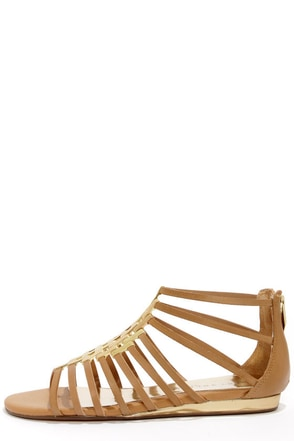Very Volatile Selkie Tan Leather Gladiator Sandals