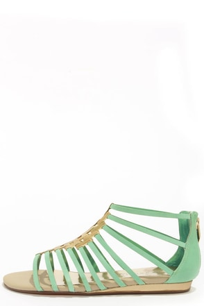 Very Volatile Selkie Mint Leather Gladiator Sandals