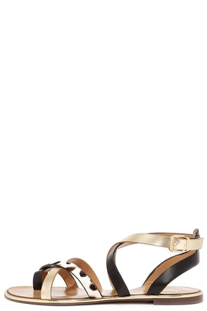 Report Signature Cash Black Exotic Print Pony Fur Sandals at Lulus.com!