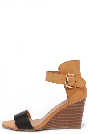 Sleek Show Black and Tan Wedges at Lulus.com!