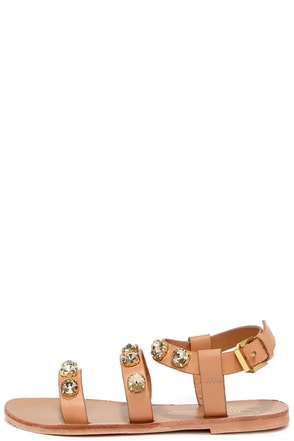 Report Signature Zoran Tan Rhinestone Sandals at Lulus.com!