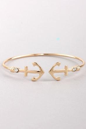 Nautical You Need Gold Rhinestone Bracelet
