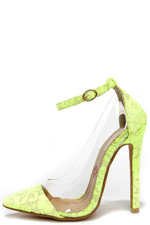Clear the Floor Neon Yellow Lace Ankle Strap Heels at Lulus.com!