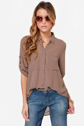 Work It Out Sable Button-Up Top