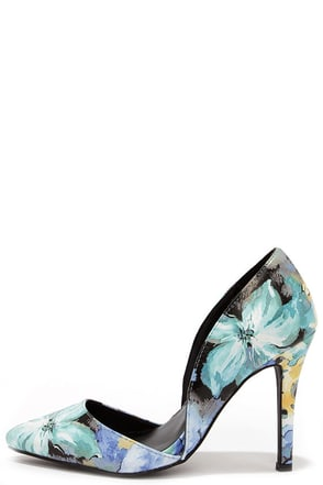 Elegant Arrangement Blue Floral D'Orsay Pumps at Lulus.com!
