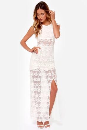 Black Swan Illusion Ivory Lace Maxi Dress