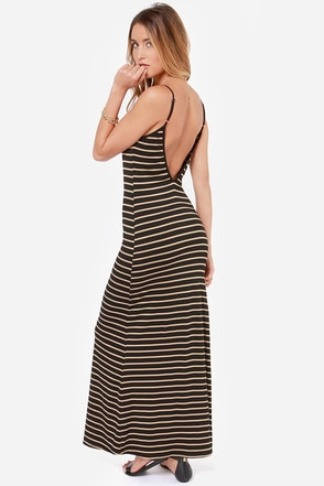 On the Line Tan and Black Striped Maxi Dress