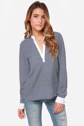 You Yacht It! Ivory and Navy Blue Striped Top