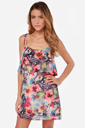 All About the Monet Floral Print Dress