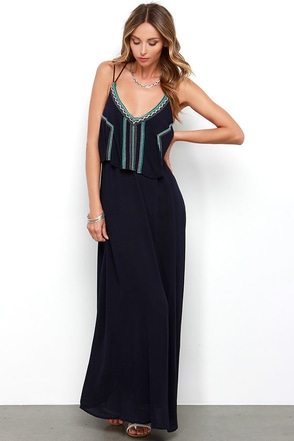 Succulent Garden Navy Blue Embroidered Maxi Dress at Lulus.com!