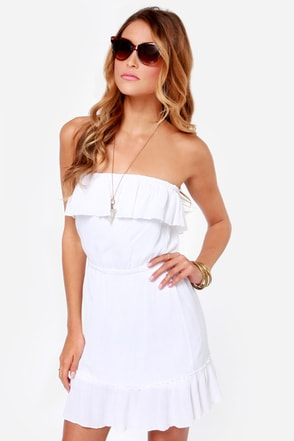 Volcom Love Sick Ivory Strapless Dress