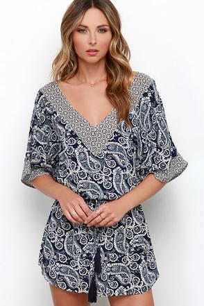 Alongshore Navy Blue Print Dress at Lulus.com!