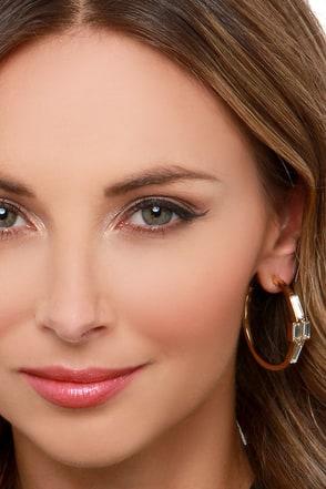 Gem-ini Gold Rhinestone Hoop Earrings at Lulus.com!