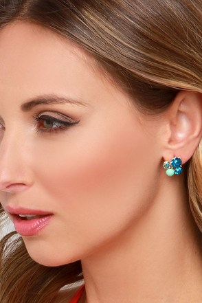 Glitz Girl Teal Rhinestone Earrings at Lulus.com!