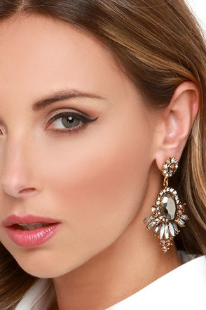 Mission Statement Grey Rhinestone Earrings at Lulus.com!