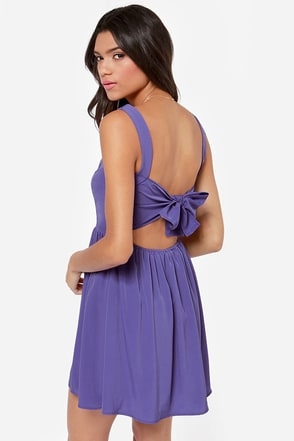 Tie by Night Backless Purple Dress
