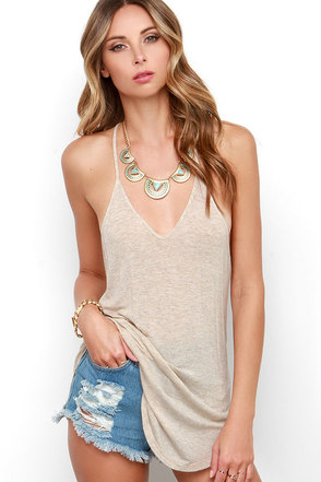 Cool Beige Top Tank Top Casual Top Racerback Top