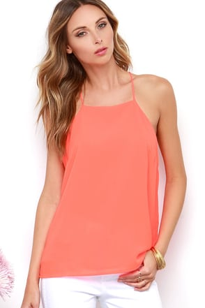 Bright and Boisterous Neon Coral Top at Lulus.com!
