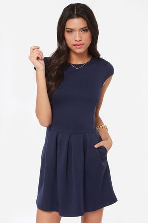 Black Swan Lily Navy Blue Dress Pleated Dress 79 00