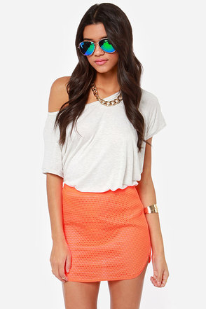 Natalie Mesh Neon Orange Mini Skirt