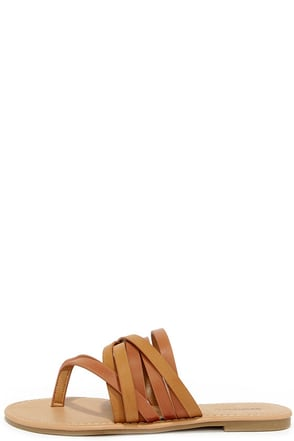 Strappy and You Know It Chestnut Brown Thong Sandals at Lulus.com!