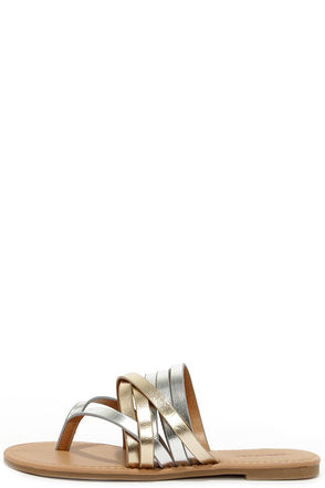 Strappy and You Know It Metallic Thong Sandals at Lulus.com!