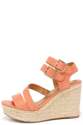 Platform-ation Salmon Wedge Sandals at Lulus.com!
