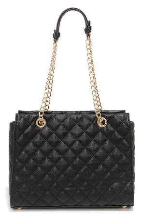 Quilt-y as Charged Black Quilted Handbag at Lulus.com!