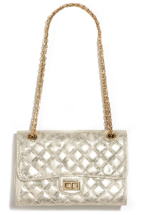 Stroke of Luxe Gold Quilted Purse at Lulus.com!